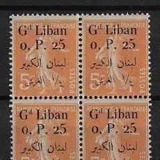 Sellos: LIBANO 1924-25 BLOQUE DE 4 SELLOS NUEVOS SIN CHARNELA PERFECTO ESTADO. Lote 125895151