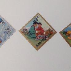 Sellos: LOTE DE 3 SELLOS NUEVOS TRIANGULARES DE BHUTAN- VARIADOS. Lote 130926289