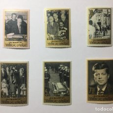 Sellos: LOTE 2 DE SELLOS - JOHN F. KENNEDY 1965 - UMM AL QIWAIN - EMIRATOS ARABES UNIDOS. Lote 136242442