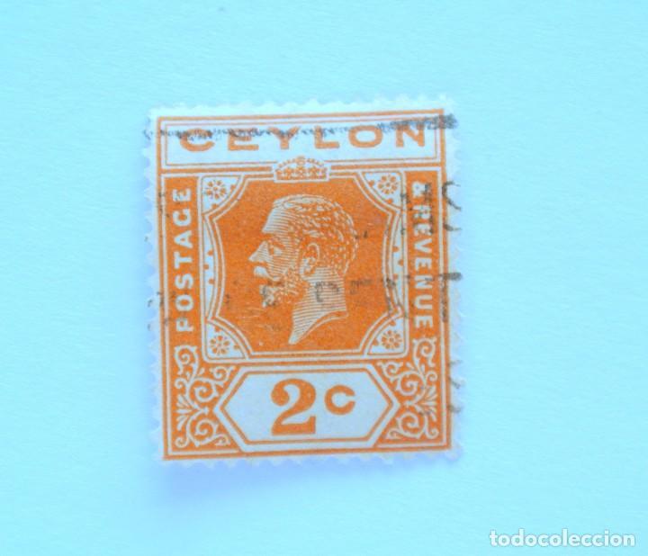 SELLO POSTAL CEILAN - CEYLON 1927, 2 C , ISSUES OF 1921-1933, USADO (Sellos - Extranjero - Asia - Otros paises)