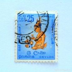 Sellos: SELLO POSTAL CEILAN - CEYLON 1958, 25 C ,CHICA DE LA NUBE FRESCO DE LA SIGIRIYA-ROCK 5TH CTY , USADO. Lote 154230194