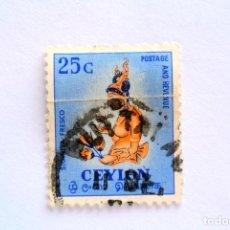Sellos: SELLO POSTAL CEILAN - CEYLON 1954, 25 C CHICA DE LA NUBE, FRESCO DE LA SIGIRIYA, USADO. Lote 154587826