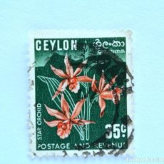Sellos: SELLO POSTAL CEILAN - CEYLON 1952, 35 C ,ORQUIDEA ESTRELLA, USADO. Lote 154594606