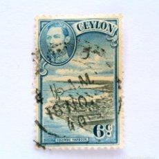 Sellos: SELLO POSTAL CEILAN - CEYLON 1938, 6 C ,COLOMBO HARBOUR, USADO. Lote 154602110