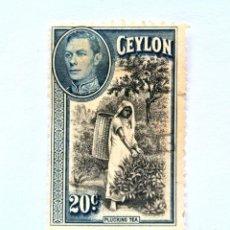 Sellos: SELLO POSTAL CEILAN - CEYLON 1938, 20 C ,PLUCKING TEA, USADO. Lote 154606066