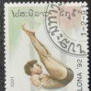 Sellos: 1991. DEPORTES. LAOS. 992. PRE-JUEGOS OLÍMPICOS BARCELONA. SALTOS DE NATACIÓN. USADO.. Lote 159665694