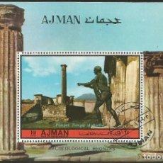 Sellos: AJMAN (EMIRATOS ARABES UNIDOS) 1972 - AJ BL488B - HOJA SOUVENIR USADA. Lote 163998210