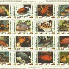 Sellos: UMM-AL-QIWAIN. PECES. TROPICAL FISHES. 1973. 16 SELLOS EN HOJA SELLADOS. BUEN ESTADO. 14,5X20,5 CM. . Lote 164965258