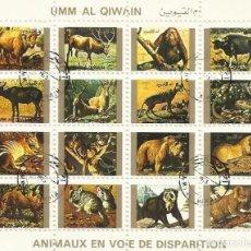 Sellos: UMM-AL-QIWAIN. ANIMAUX EN VOIE DE DISPARITION. 16 SELLOS EN HOJA SELLADOS. 1973. 8X10 CM.. Lote 165062946