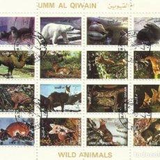 Sellos: UMM-AL-QIWAIN. WILD ANIMALS. ANIMALES SALVAJES. 16 SELLOS EN HOJA SELLADOS. 1973. 8X10 CM.. Lote 165063250