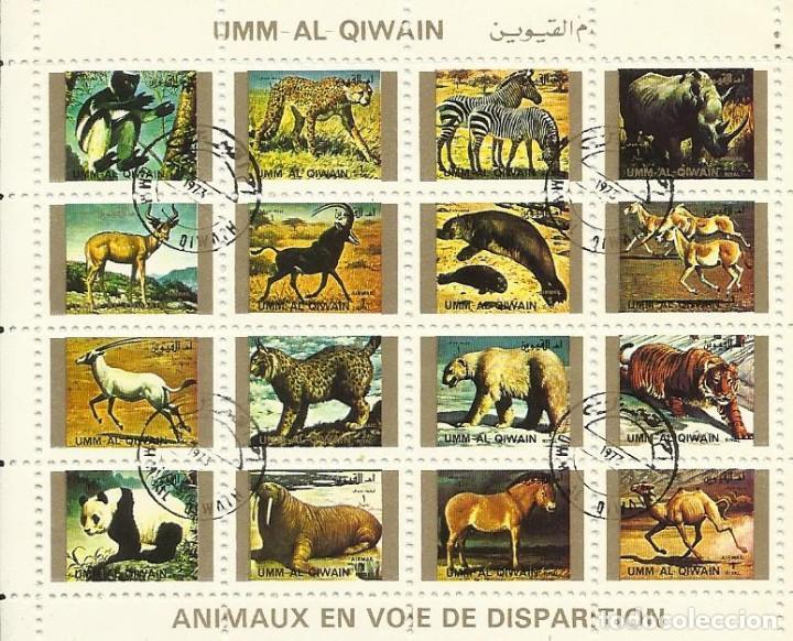 UMM-AL-QIWAIN. ANIMAUX EN VOIE DE DISPARITION. 16 SELLOS EN HOJA SELLADOS. 1973. 8X10 CM. (Sellos - Extranjero - Asia - Otros paises)