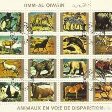 Sellos: UMM-AL-QIWAIN. ANIMAUX EN VOIE DE DISPARITION. 16 SELLOS EN HOJA SELLADOS. 1973. 8X10 CM.. Lote 165063406