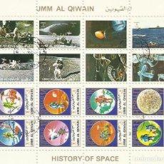 Sellos: UMM-AL-QIWAIN. HISTORY OF SPACE HISTORIA ESPACIO. 16 SELLOS EN HOJA SELLADOS. 1973. 8X10 CM.. Lote 165063646