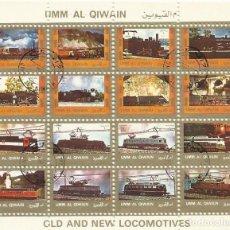 Sellos: UMM-AL-QIWAIN. OLD AND NEW LOCOMOTIVES. TREN. 16 SELLOS EN HOJA SELLADOS. 8X10 CM. 1973.. Lote 165065218