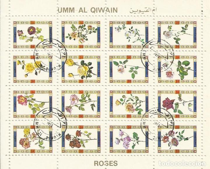 UMM-AL-QIWAIN. ROSES. ROSAS. 16 SELLOS EN HOJA SELLADOS. 8X10 CM. 1973. (Sellos - Extranjero - Asia - Otros paises)