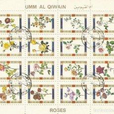 Sellos: UMM-AL-QIWAIN. ROSES. ROSAS. 16 SELLOS EN HOJA SELLADOS. 8X10 CM. 1973.. Lote 165065330