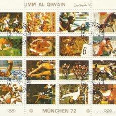 Sellos: UMM-AL-QIWAIN. MUNCHEN 72. MUNICH 72. 16 SELLOS EN HOJA SELLADOS. 8X10 CM. 1973.. Lote 165066114