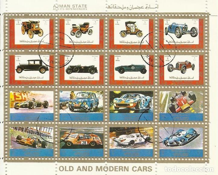 Sellos: Ajman State. Old and modern cars. Coches. 16 sellos en hoja sellados. 8x10 cm. 1973. - Foto 1 - 165066246