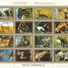 Sellos: AJMAN STATE.WILD ANIMALS. ANIMALES SALVAJES. 16 SELLOS EN HOJA SELLADOS. 8X10 CM. 1973.. Lote 165067554