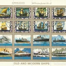Sellos: AJMAN STATE. OLD AND MODERN SHIPS. BARCOS. 16 SELLOS EN HOJA SELLADOS. 8X10 CM. 1973.. Lote 165067898