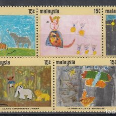 Sellos: MALASIA, 1971 YVERT Nº 89 / 93 /**/, 25TO ANIVERSARIO. DE UNICEF, DIBUJOS INFANTILES. . Lote 175284748