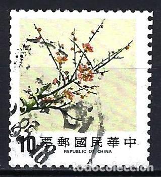 1984 TAIWAN REPÚBLICA CHINA - FLORES CIRUELO - MICHEL 1599 YVERT 1538 - USADO (Sellos - Extranjero - Asia - Otros paises)