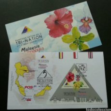 Sellos: MALASIA MALAYSIA 2013 EXPOSICIÓN FILATÉLICA TRI-NACIONAL SOBRE DE PRIMER DIA FIRST DAY COVER FDC. Lote 184437082