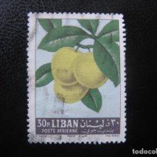 Sellos: LIBANO 1962, FRUTAS, YVERT 270 AEREO. Lote 187206470