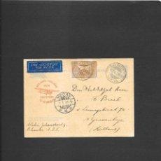 Sellos: INDIAS HOLANDESAS ENTERO PÒSTAL CON IMPRESION PRIVADA DE UN AVION Y CIRCULADO EN 1933,. Lote 191692718