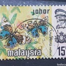Sellos: JOHORE/ESTADOS MALAYOS_SELLO USADO_MARIPOSA BLUE PANSY_YT-MY-JO 155 AÑO 1971 LOTE 10498. Lote 195529572