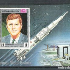 Sellos: YEMEN 1969 SPACE, KENNEDY, IMPERF. SHEET, USED L.113. Lote 198280757