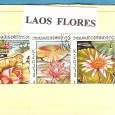 Sellos: LOTE DE SELLOS DE LAOS. FLORES. Lote 206336000