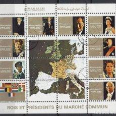 Sellos: AJMAN 1973 - LIDERES DE PAÍSES DE LA COMUNIDAD EUROPEA, AÉREOS - HOJA PEQUEÑA MATASELLADA. Lote 206416726