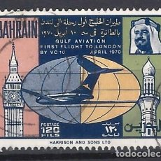 Sellos: BAHREIN 1970 - 1º ANIV. VUELO VC-10 DE DOHA A LONDRES - SELLO USADO. Lote 206437901