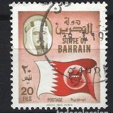 Sellos: BAHREIN 1976-88 - BANDERA Y MAPA - SELLO USADO. Lote 206438238