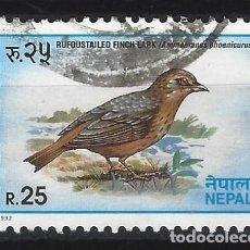 Selos: NEPAL 1994 - FAUNA, AVES, TERRERA COLIRROJA - SELLO USADO. Lote 210582627