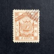 Sellos: ANTIGUO SELLO DE BORNEO DEL NORTE 1886, ESCUDO DE ARMAS, INSCRIPCIÓN BRITISH NORTH BORNEO & POSTAGE. Lote 212420148