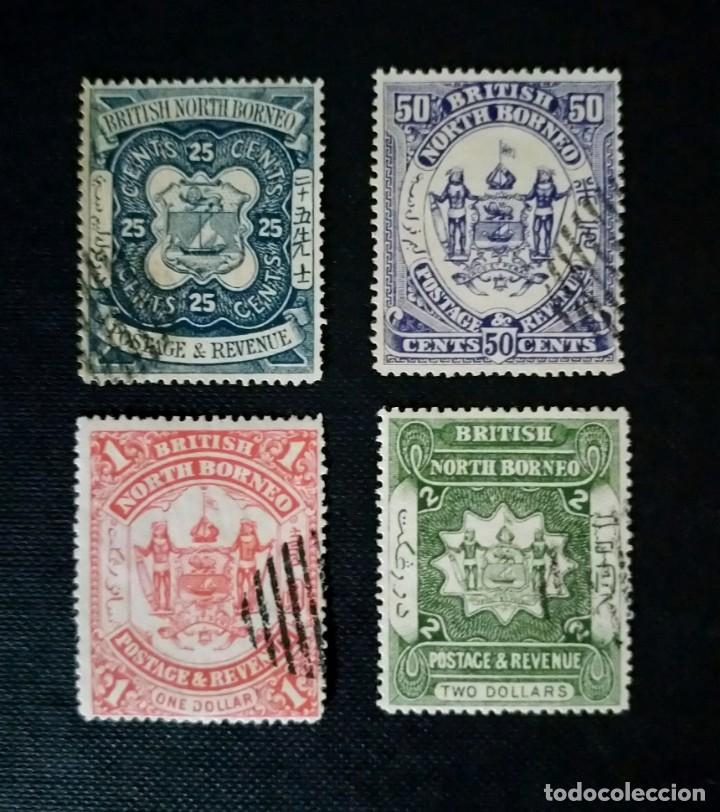 MUY ANTIGUOS SELLOS DE BORNEO DEL NORTE 1886, ESCUDO DE ARMAS (Sellos - Extranjero - Asia - Otros paises)