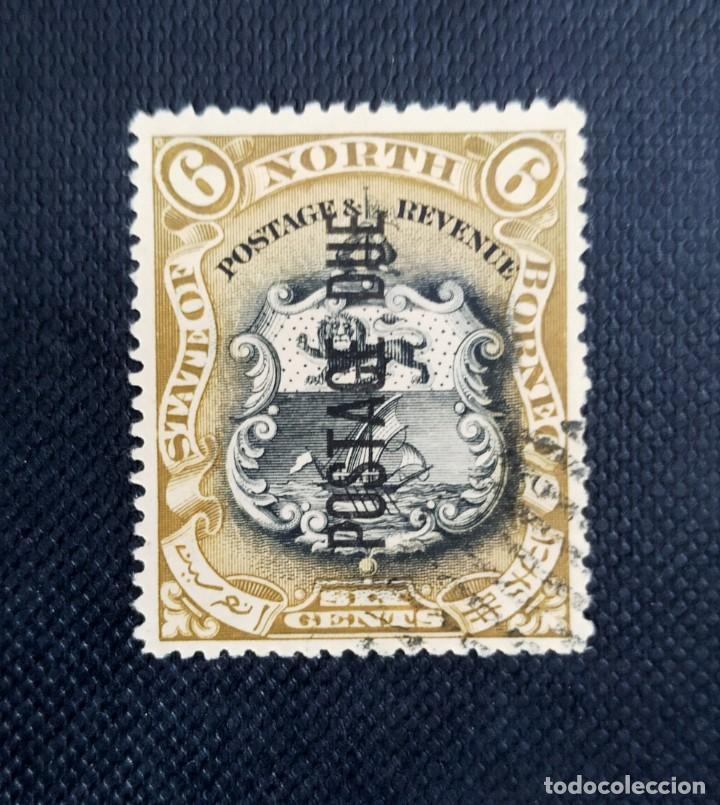 ANTIGUO SELLO DE BORNEO DEL NORTE 1897, MOTIVOS LOCALES, SOBREIMPRESO POSTAGE DUE (Sellos - Extranjero - Asia - Otros paises)
