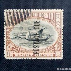 Sellos: ANTIGUO SELLO DE BORNEO DEL NORTE 1897, MOTIVOS LOCALES, SOBREIMPRESO POSTAGE DUE. Lote 212472640