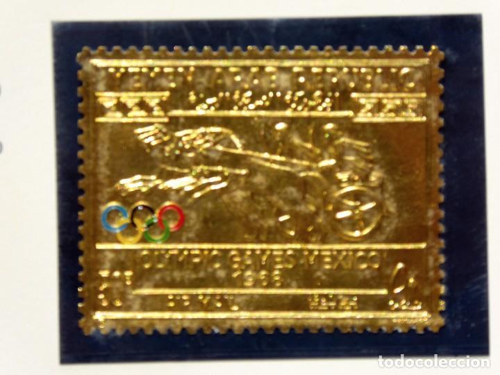 Sellos: SELL-1. SELLO ESTAMPADO EN ORO FINO. YEMEN ARAB REPUBLIC. XIX OLIMPIC GAMES MEXICO 1968. 0,6 GRS. - Foto 2 - 213792612