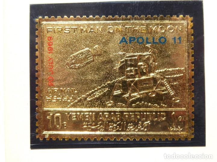 Sellos: SELL-2. SELLO ESTAMPADO EN ORO FINO. YEMEN ARAB REPUBLIC. FIRST MAN ON THE MOON. APOLO 11. 1969. - Foto 2 - 213793326