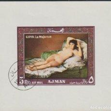 Selos: AJMAN 1969 MICHEL BL120 SELLO * ARTE PINTURA LA MAJA DESNUDA FRANCISCO DE GOYA Y LUCIENTES PREOBLITE. Lote 57734242