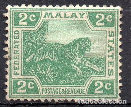 MALAYA/1926/MH/SC#52/GREEN / TIGRE/ ANIMALES/ WMK 4 (Sellos - Extranjero - Asia - Otros paises)