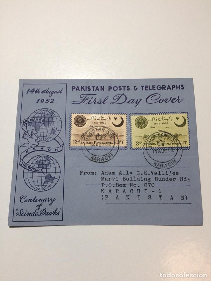 SOBRE PRIMER DÍA PAKISTÁN 1952 (Sellos - Extranjero - Asia - Otros paises)