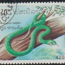 Sellos: LAOS 1992 SCOTT 1080 SELLO * FAUNA SERPIENTES TEMPEL VIPER (TRIMCRESURUS WAGLERI) POISONOUS SNAKES. Lote 235317770