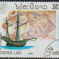 Sellos: LAOS 1992 SCOTT 1087 SELLO * BARCOS VELEROS SHIP BY MAGALHAES PLANISFERIO DE PAOLO DEL POZO TOSCANEL. Lote 235318085
