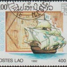 Sellos: LAOS 1992 SCOTT 1088 SELLO * BARCOS VELEROS GENOVA PORTULIANO DE GABRIEL VALLSECA MICHEL 1322. Lote 235318170
