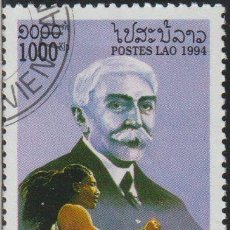 Sellos: LAOS 1994 SCOTT 1163 SELLO * DEPORTES JJOO COUBERTIN, PIERRE DE (1863-1937) & FLORENCE GRIFFITH. Lote 235318935