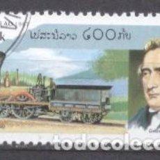 Sellos: LAOS, TRENES, LOCOMOTORAS, 1997, PREOBLITERADO. Lote 236561360